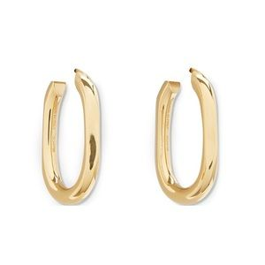 Celine triomphe small chain hoop earrings